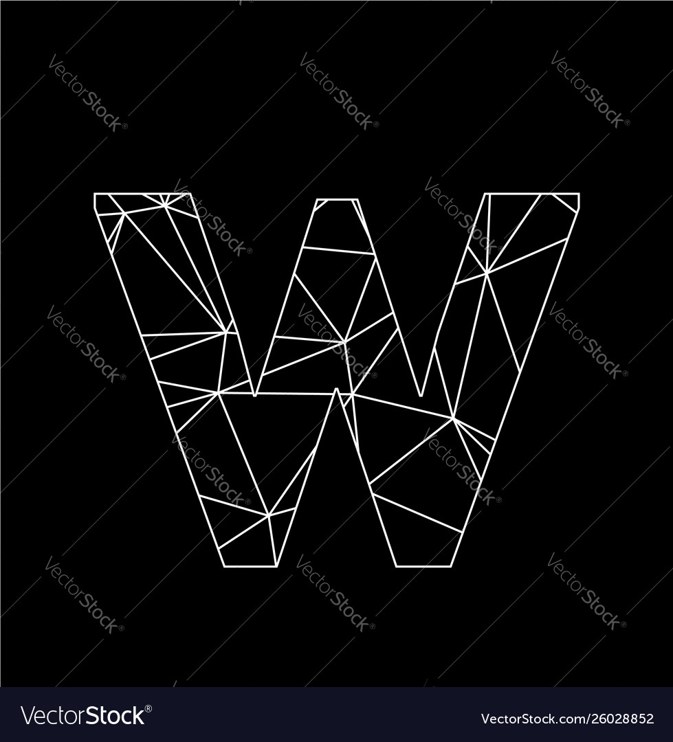 W geometric triangle block chain font