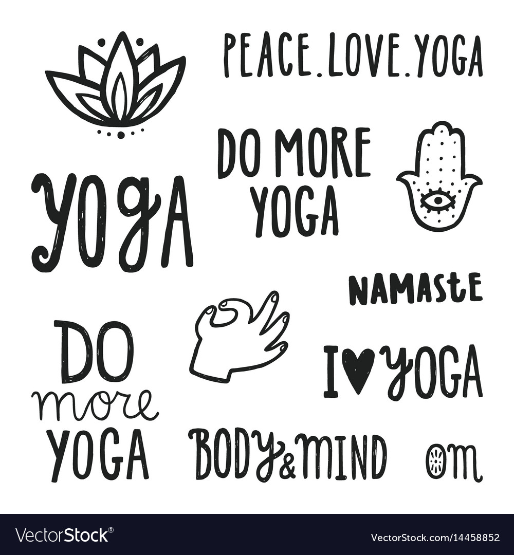 Yoga quotes set of hand drawn lettering