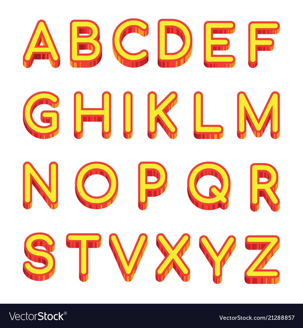 Art letters latin alphabet isolated on