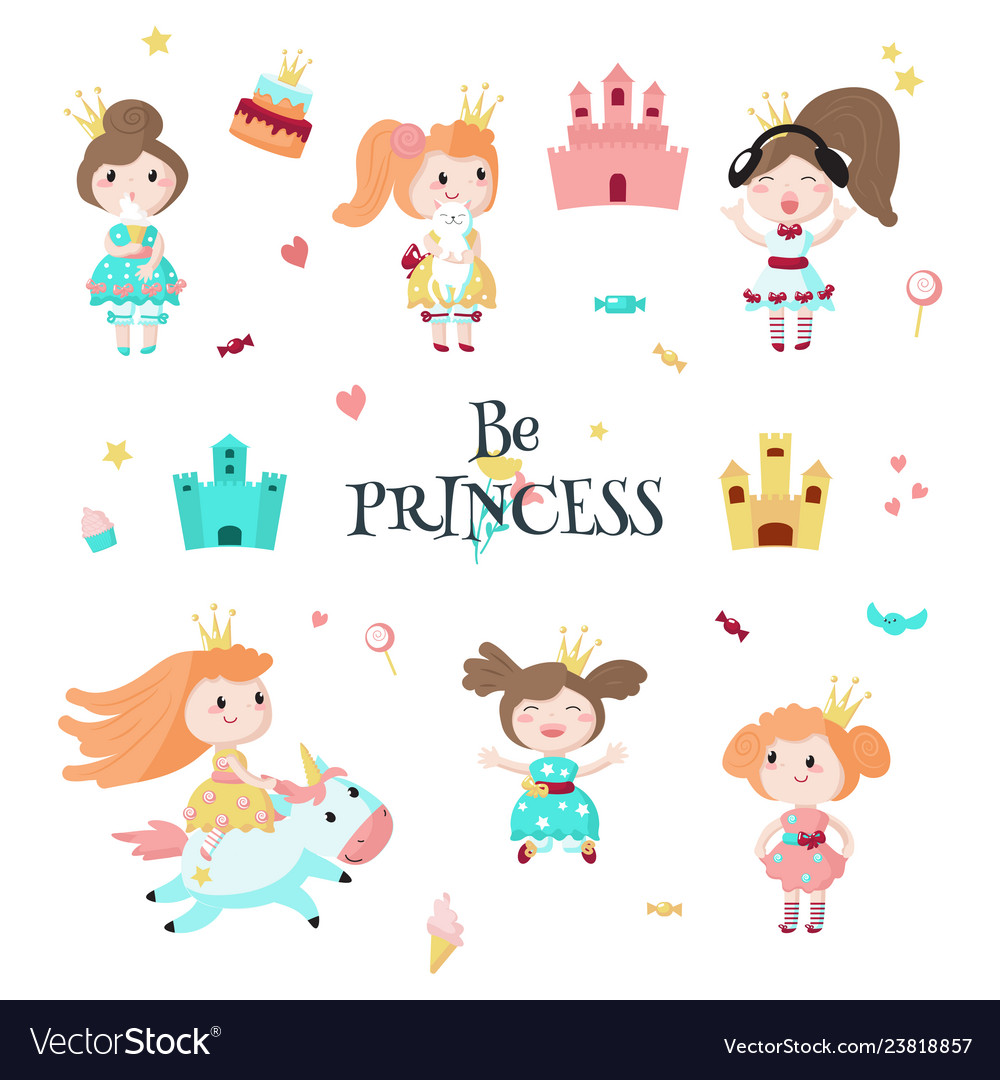 Beautiful princess icon set isolated