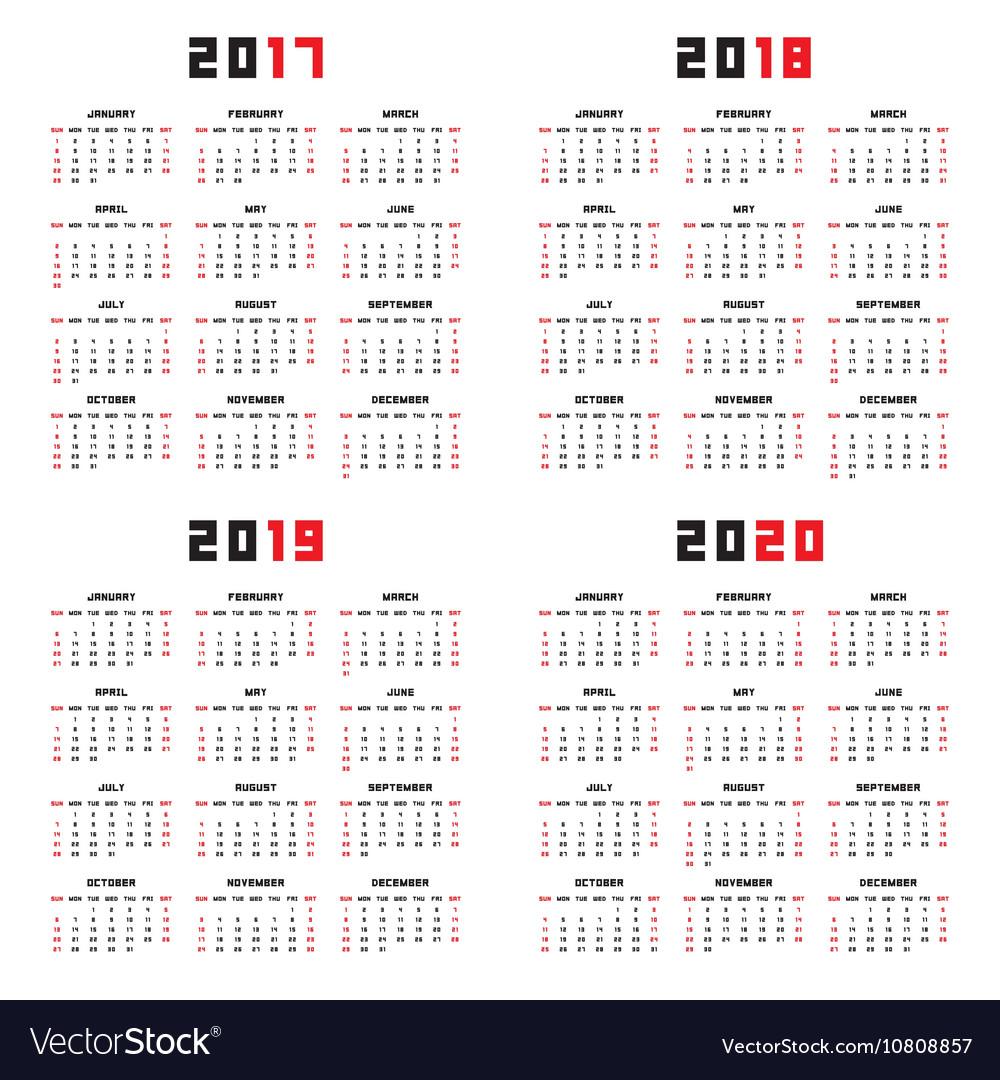 Calendar for 2017 2018 2019 2020
