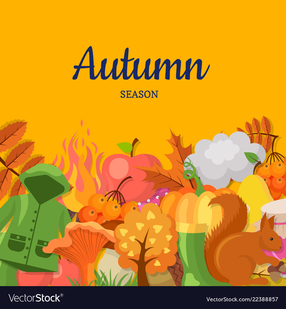 Cartoon autumn elements and leaves