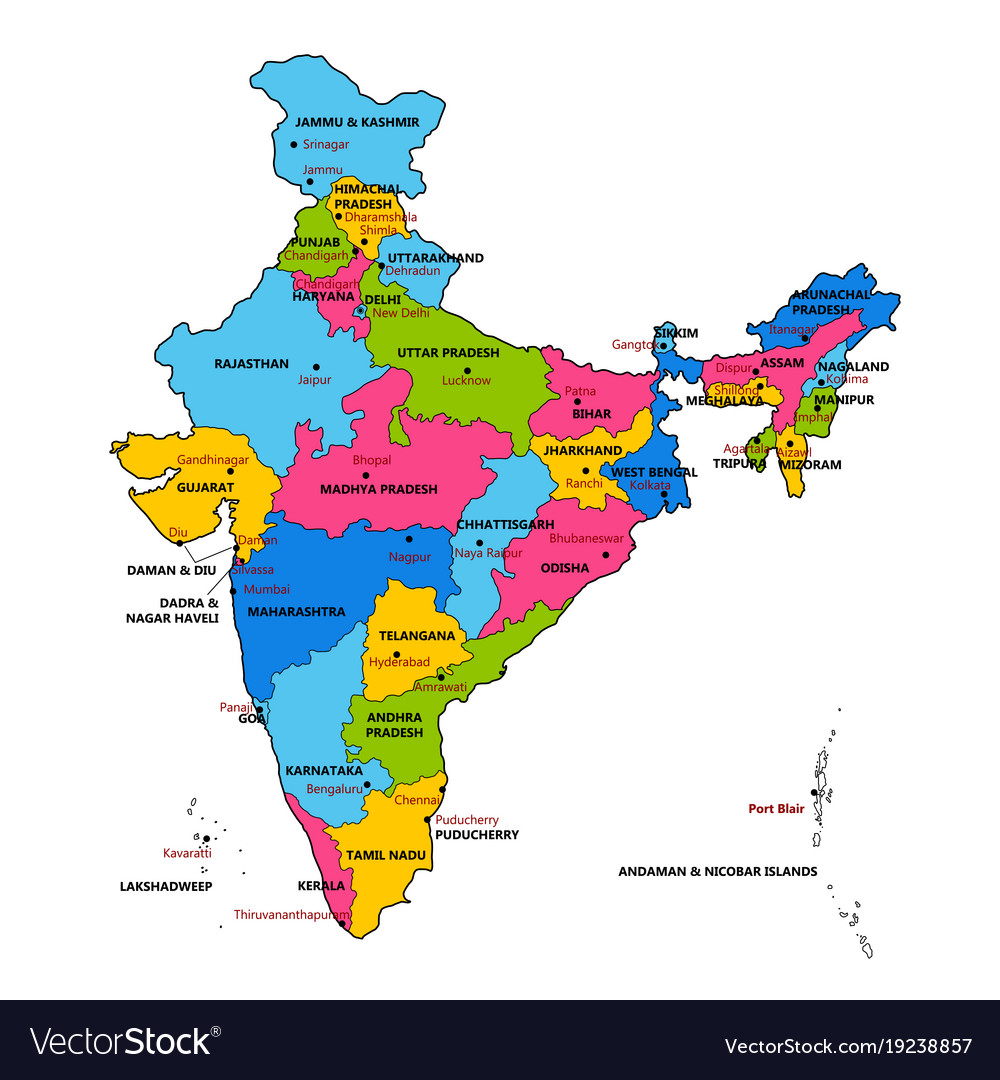 Detailed Map Of India Asia With All States And Vector Image