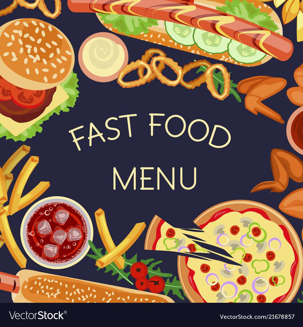 Fast food restaurant menu