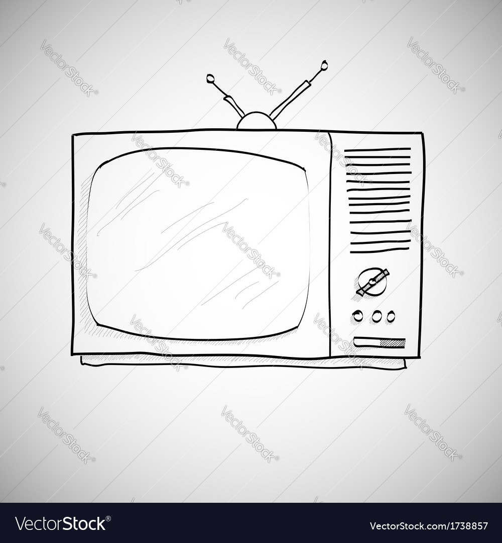 Hand drawn retro TV