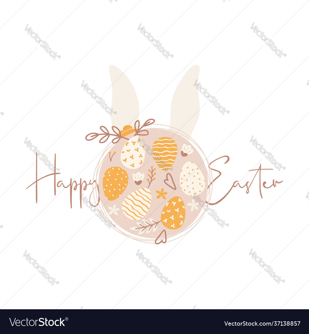 Happy easter greeting card with easter eggs and
