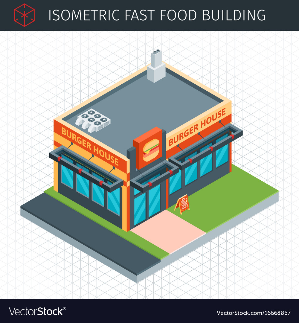 Isometric fast food building