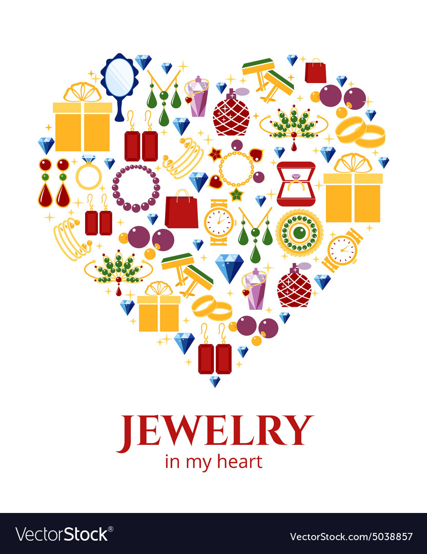 Jewelry heart shape vector image