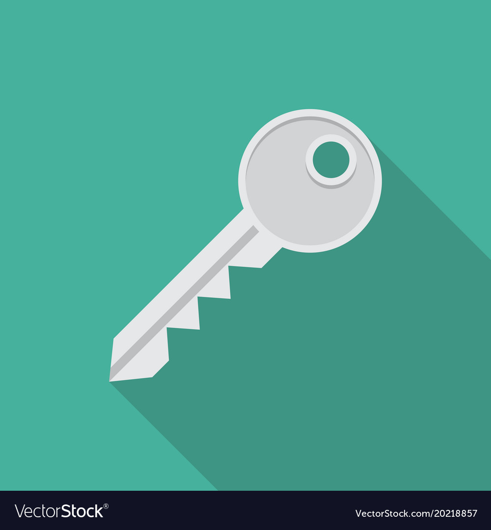 Key icon in flat style