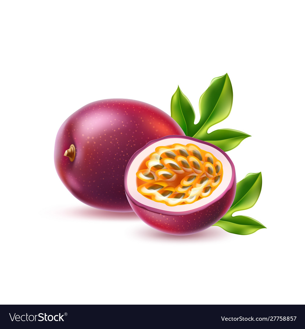 Realistic passionfruit with seed green leaf