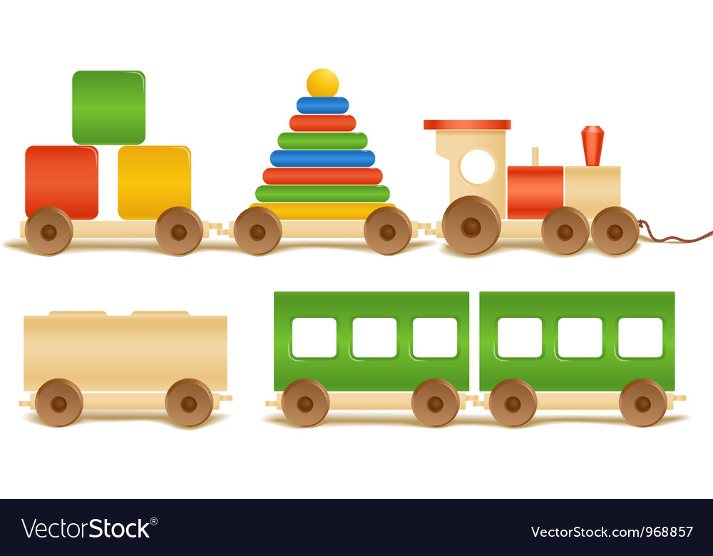 Wooden color toys vector image