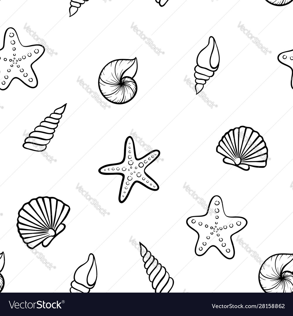Black and white seashell seamless pattern design