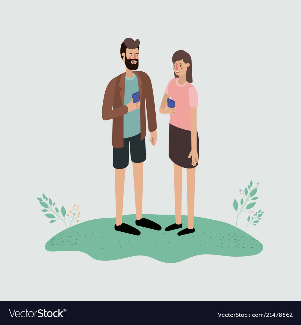 Couple using smartphone characters