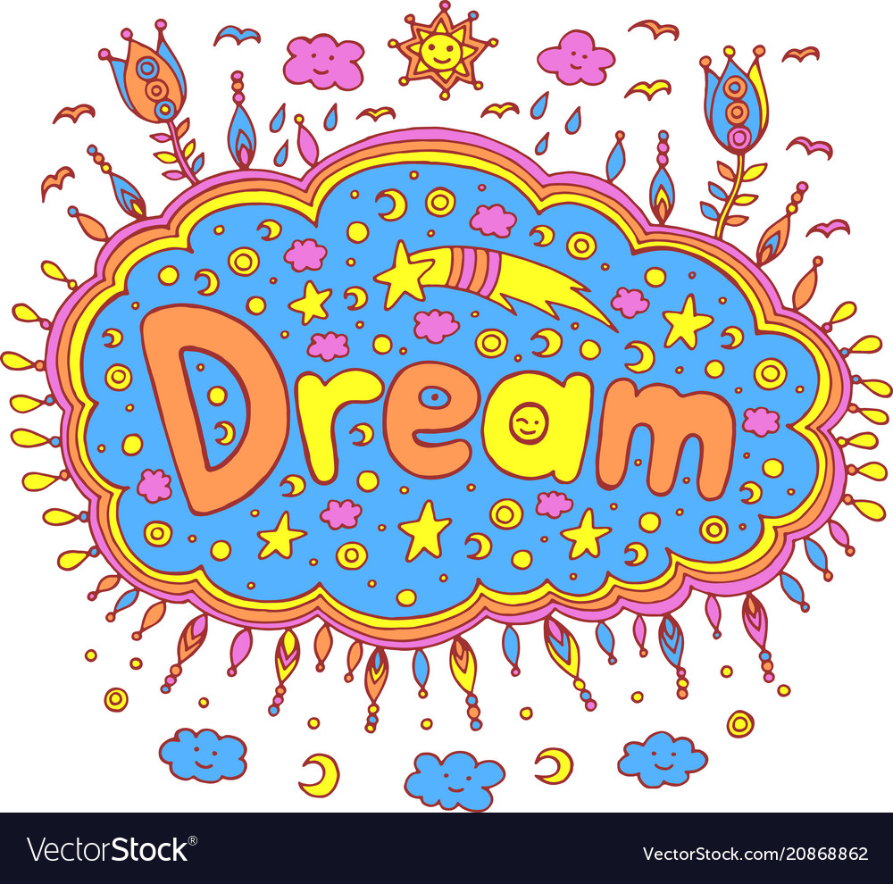 Doodle with dream word cartoon