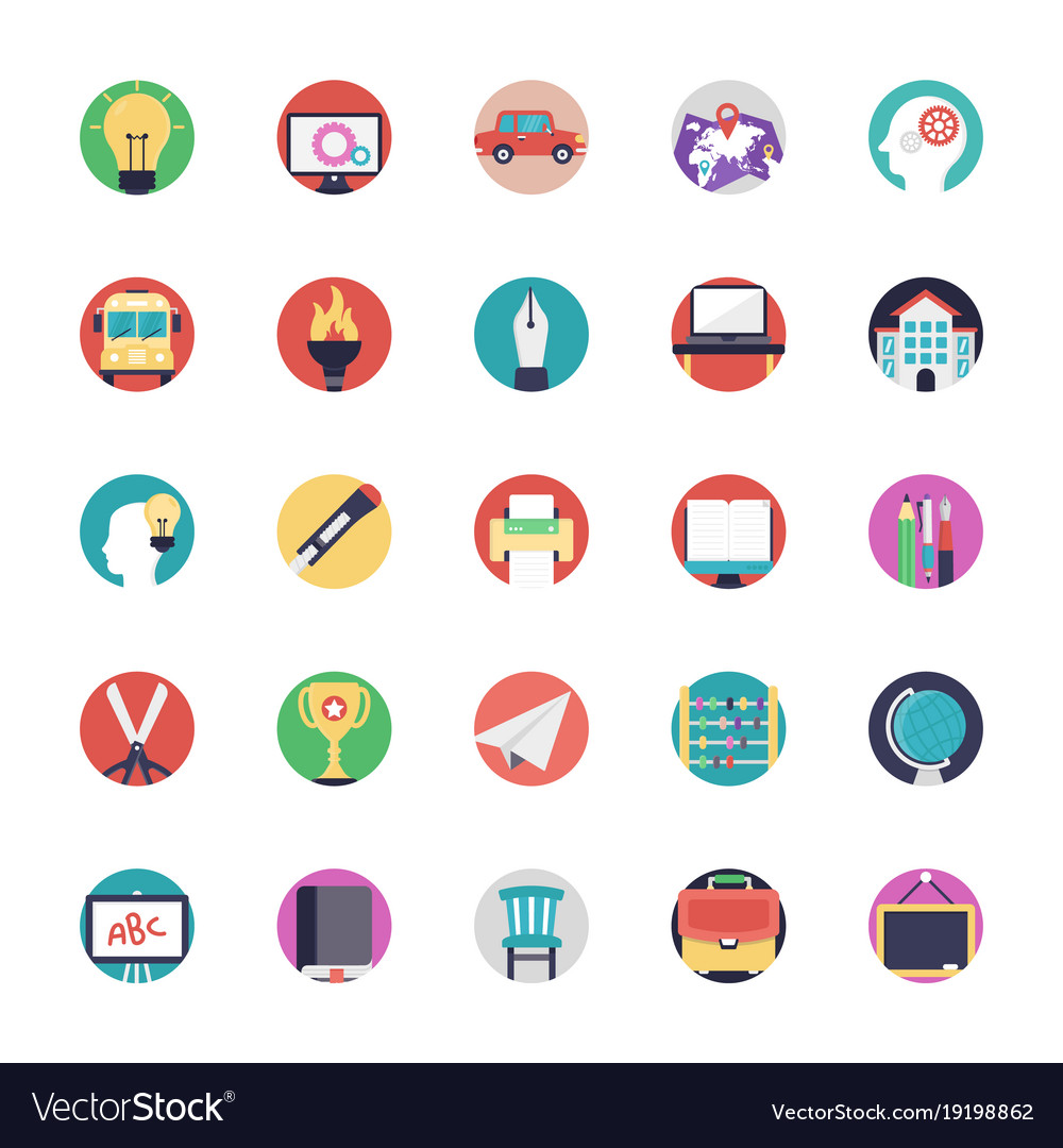 Education icons in flat design