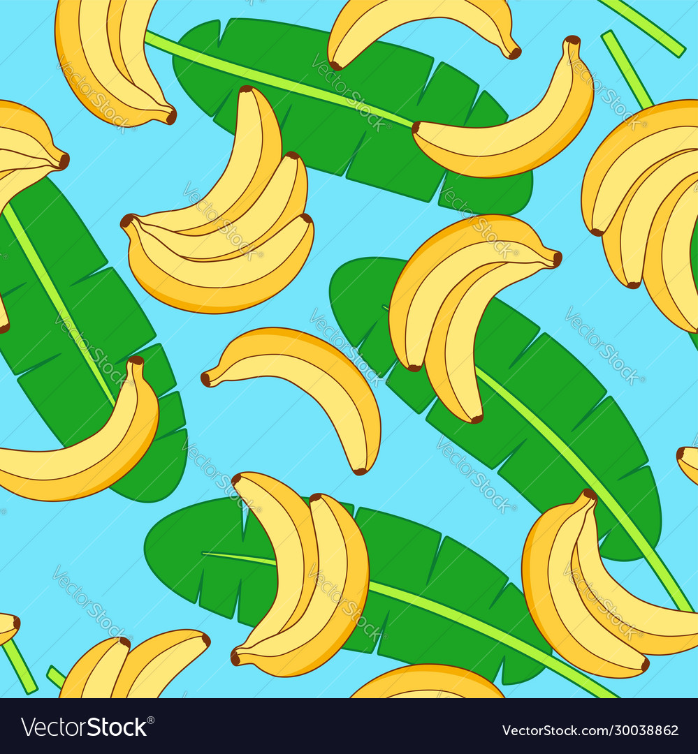 Seamless pattern with yellow bananas and green