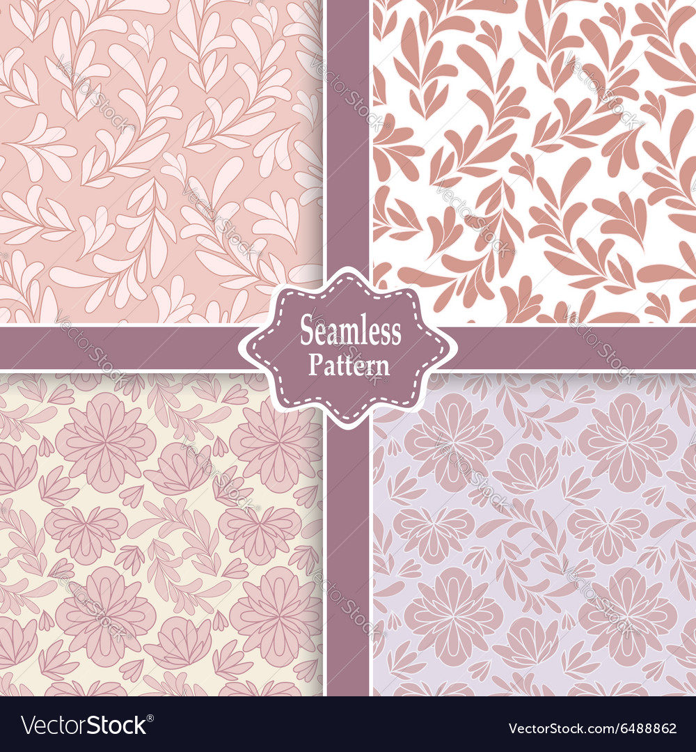 Set of four pink floral seamless patterns