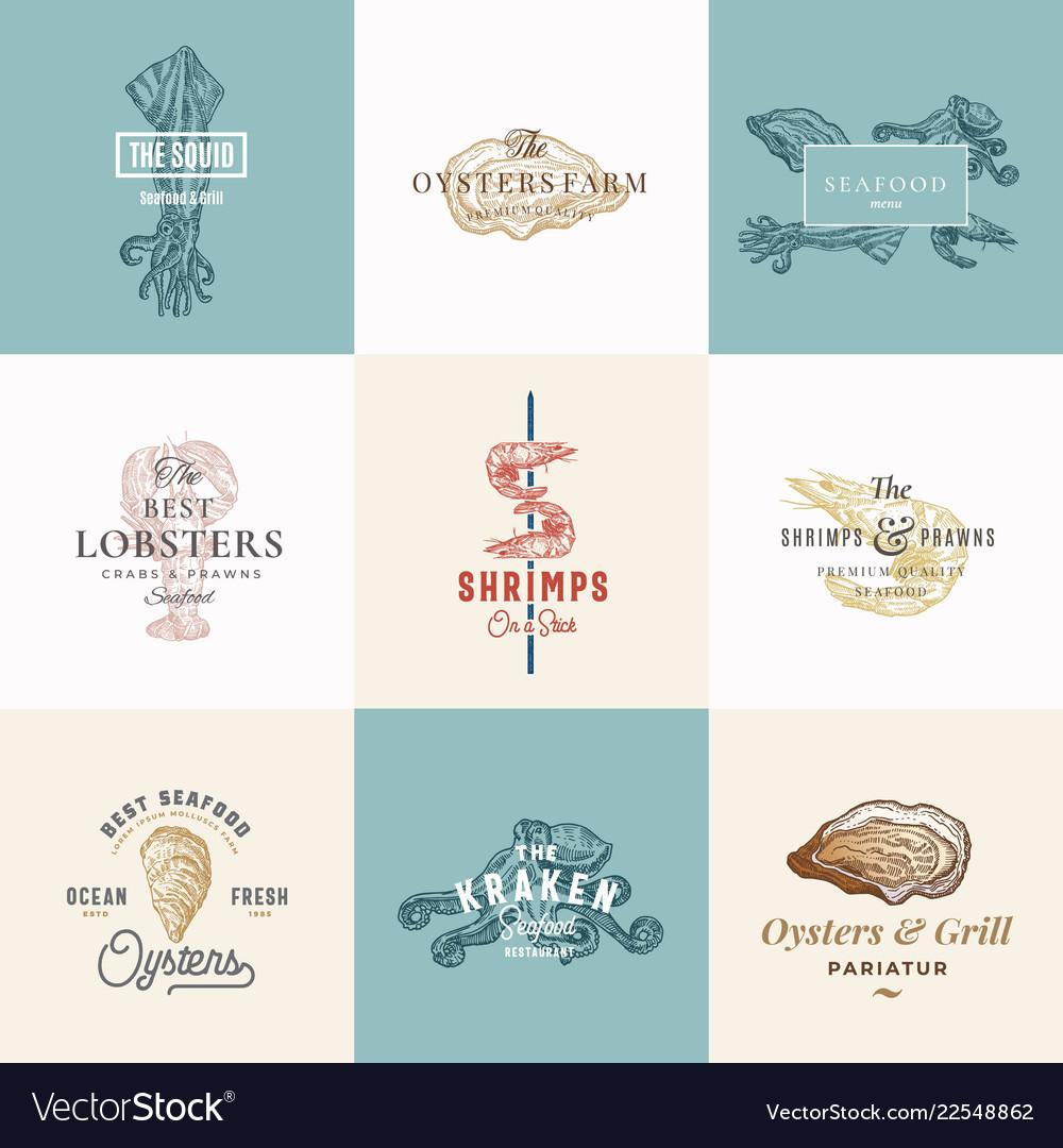 Set of premium quality retro seafood signs