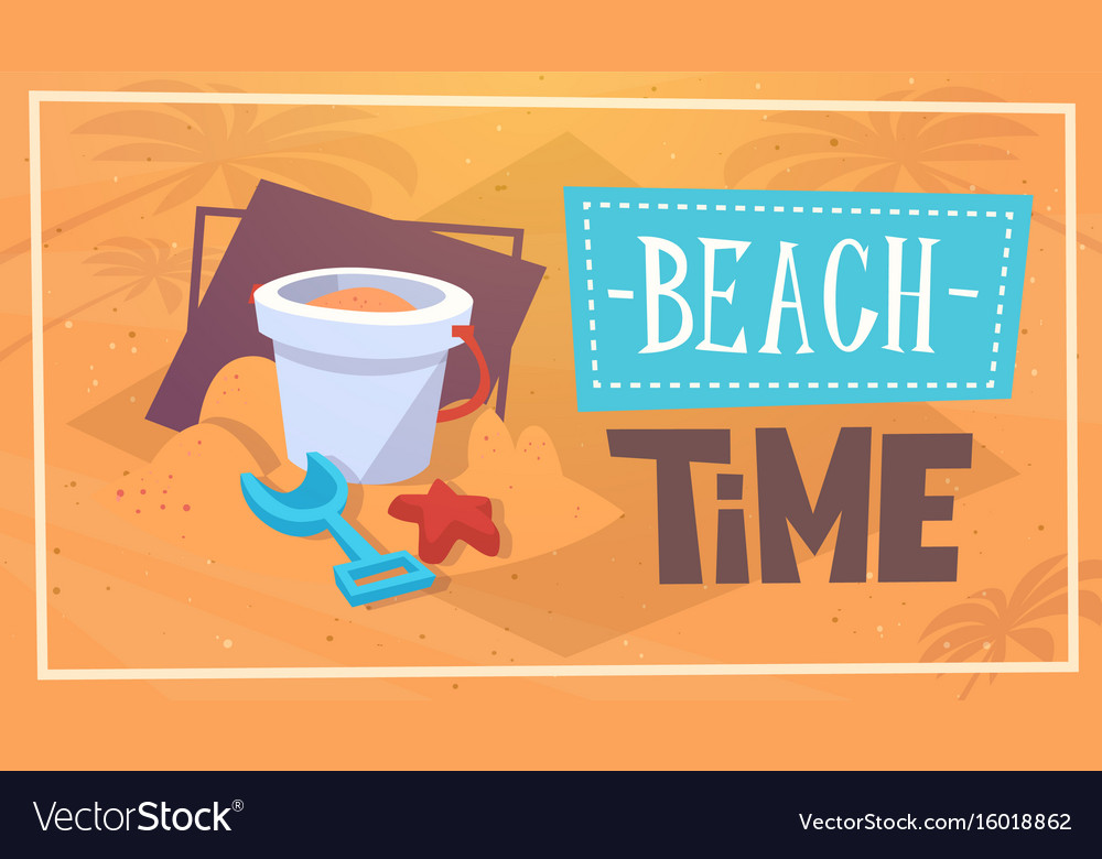 Summer beach time vacation sea travel retro banner