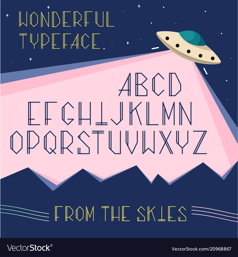 Alphabet letters space typeface ufo