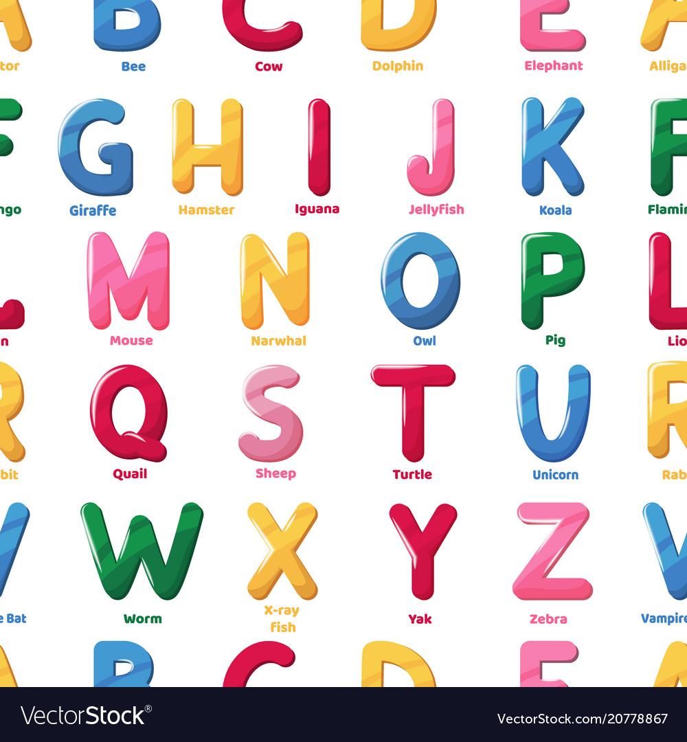 Alphabet pattern cartoon letter abs vector image