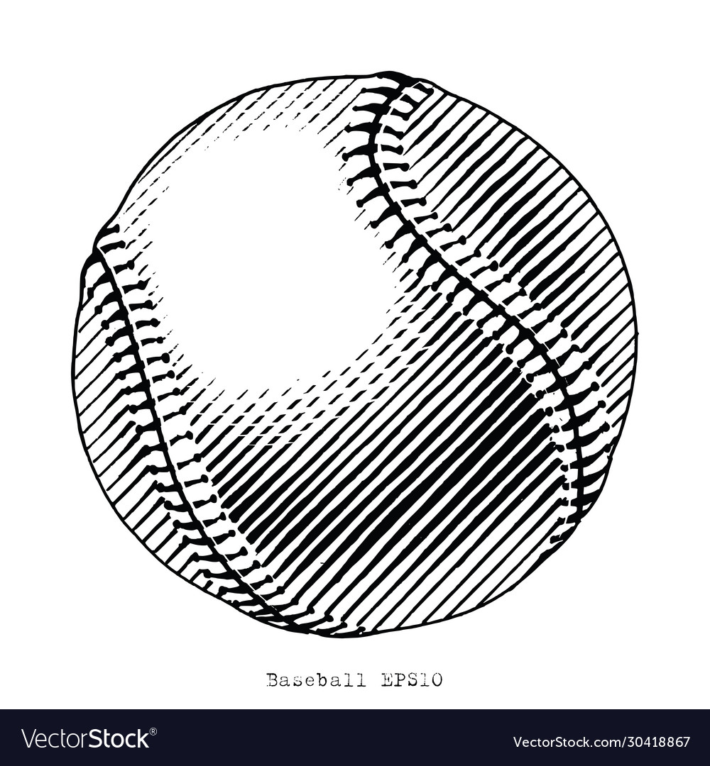 Baseball hand draw vintage style black and white