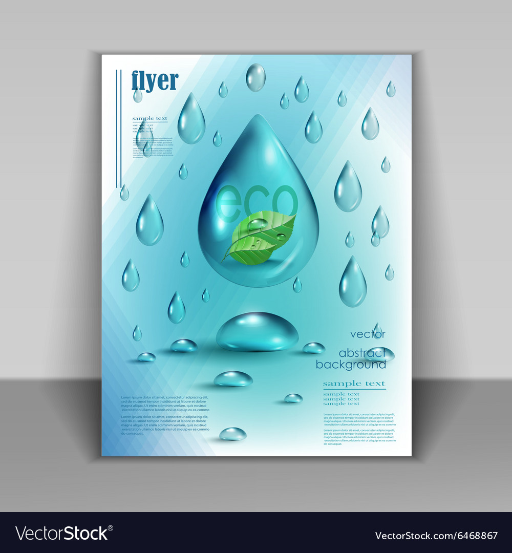 Booklet with drops of pure water