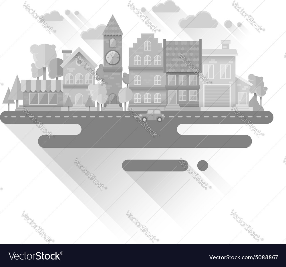 Flat houses trendy set of buildings icons isolated
