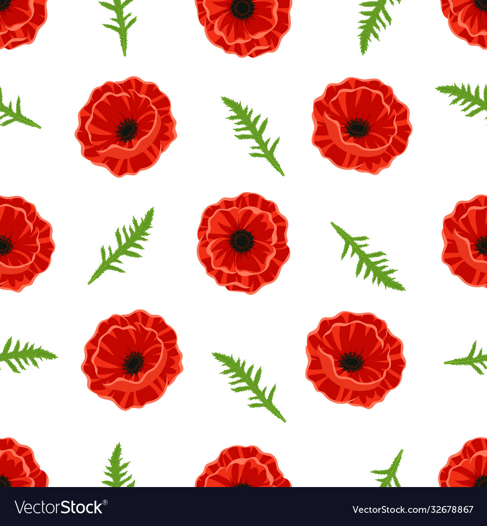 Pattern with poppies flowers and green leaves