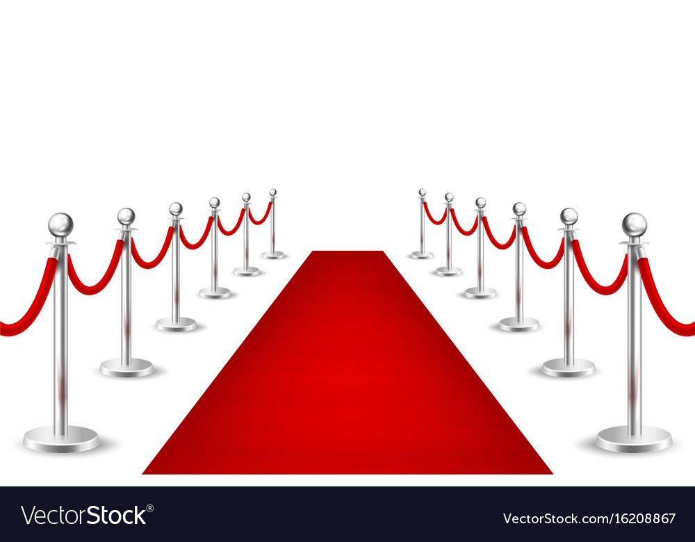 Realistic red event carpet and silver vector image