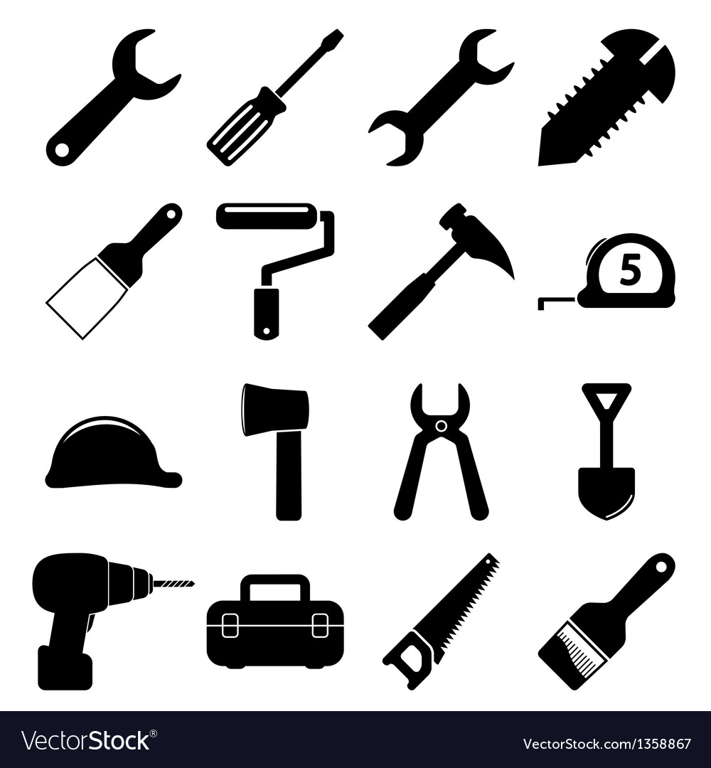 tools icons royalty free vector image vectorstock