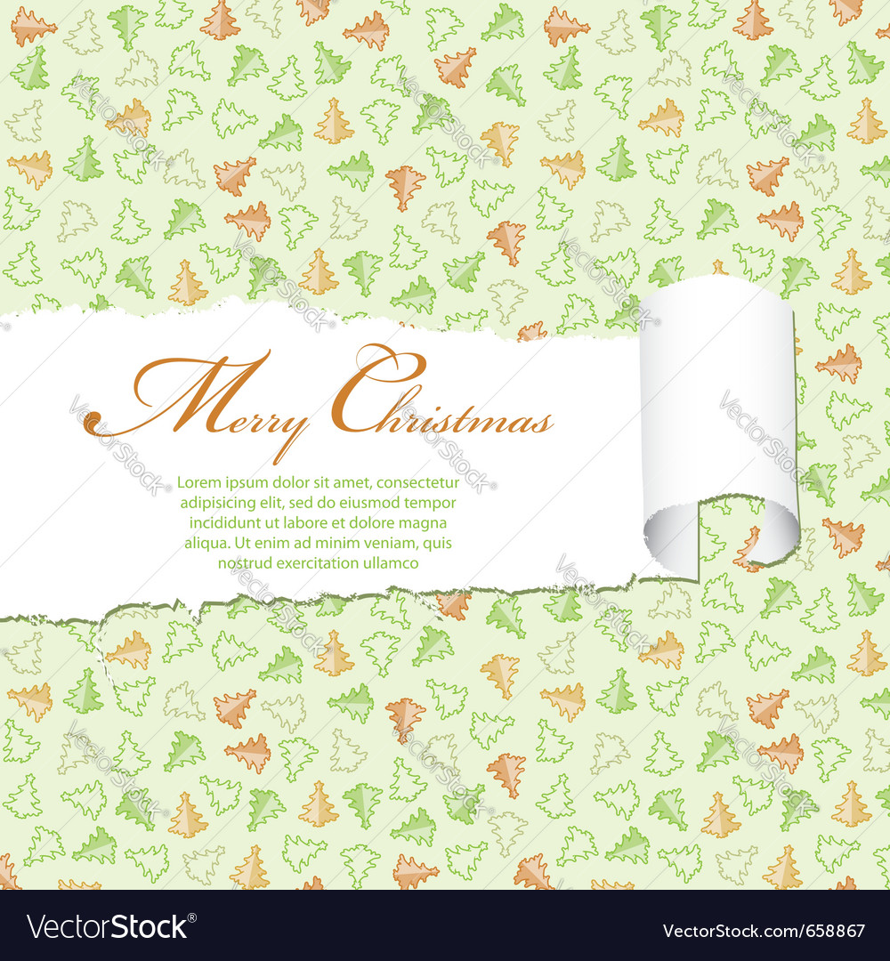 Torn christmas decorative paper vector image