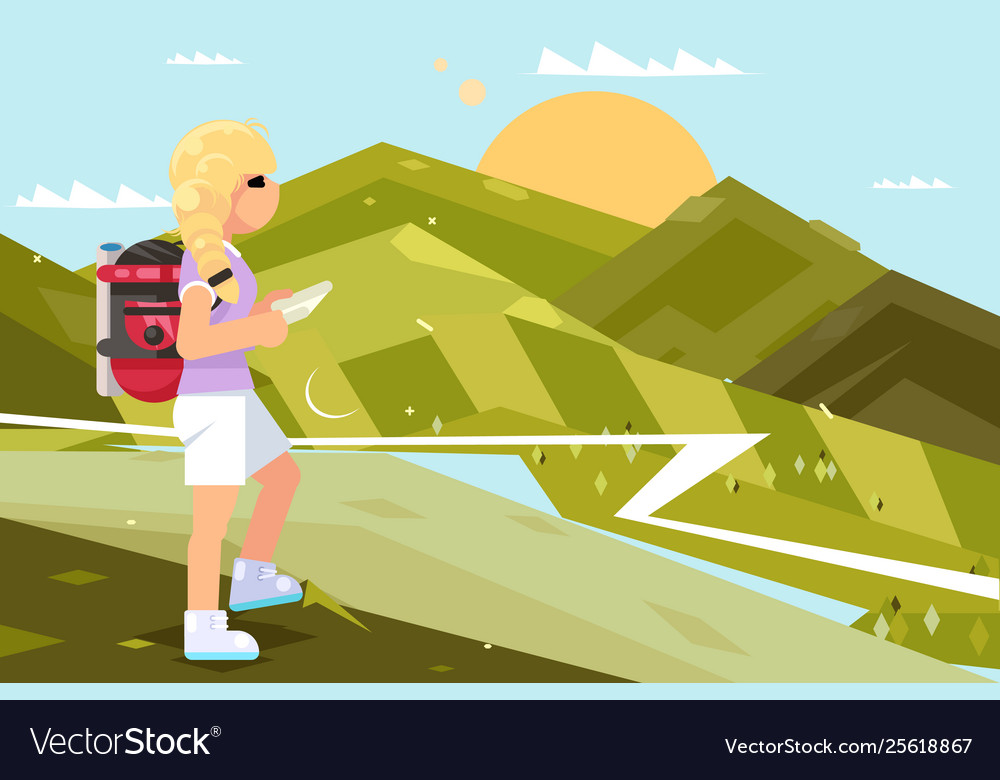 Traveler female girl nature landscape backpack