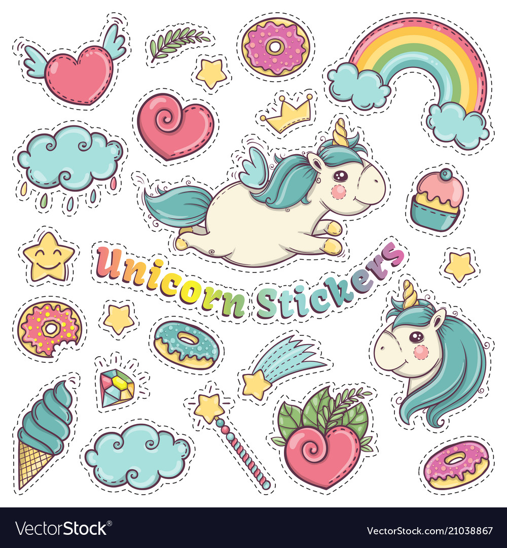 Unicorn sweet set of stickers pins patches in