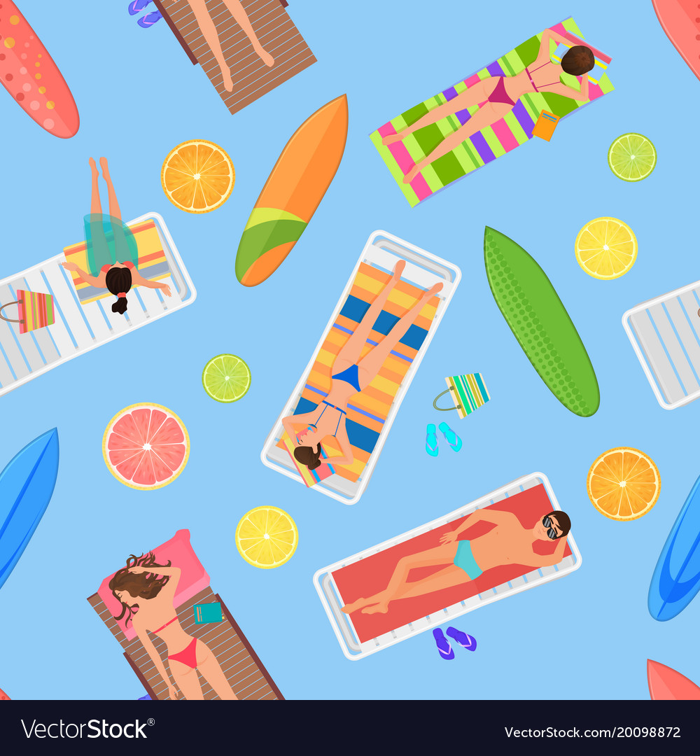 Abstract seamless summer pattern top view from vector image