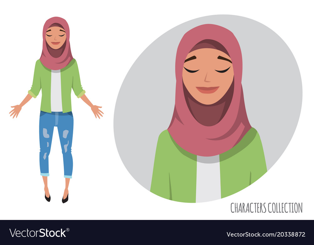 Beautiful young eastern woman relax and enjoy vector image