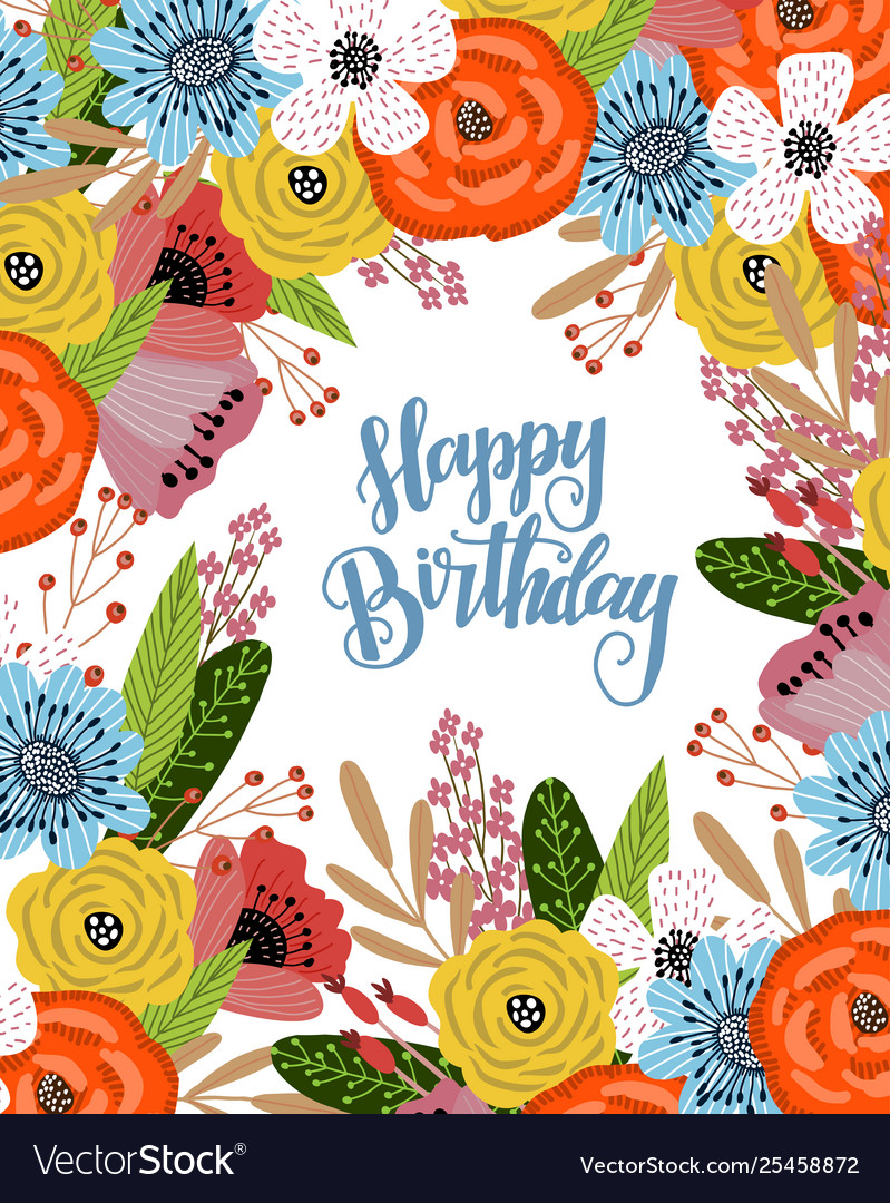 Pleasing Birthday Card With Cute Hand Drawing Bright Vector Image Personalised Birthday Cards Bromeletsinfo