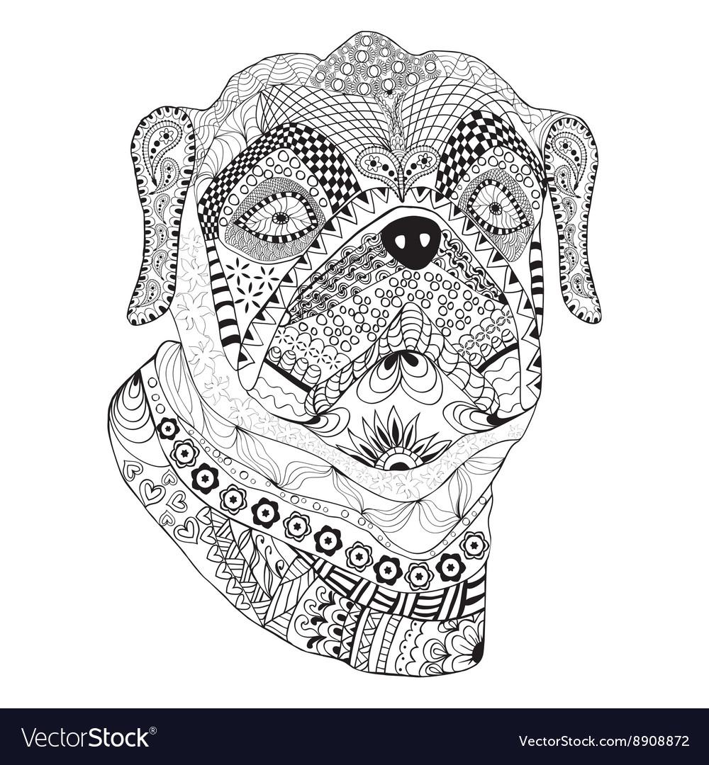 Bulldog portrait hand drawn stylized dog
