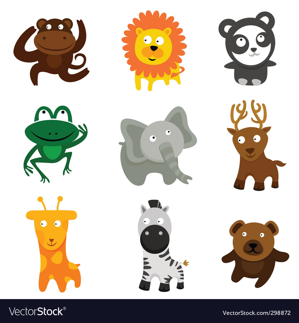 Cute wild animals vector image