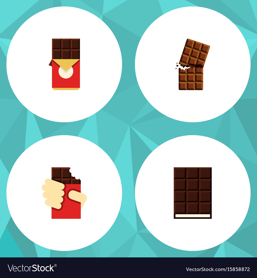 Flat icon chocolate set of wrapper dessert vector image
