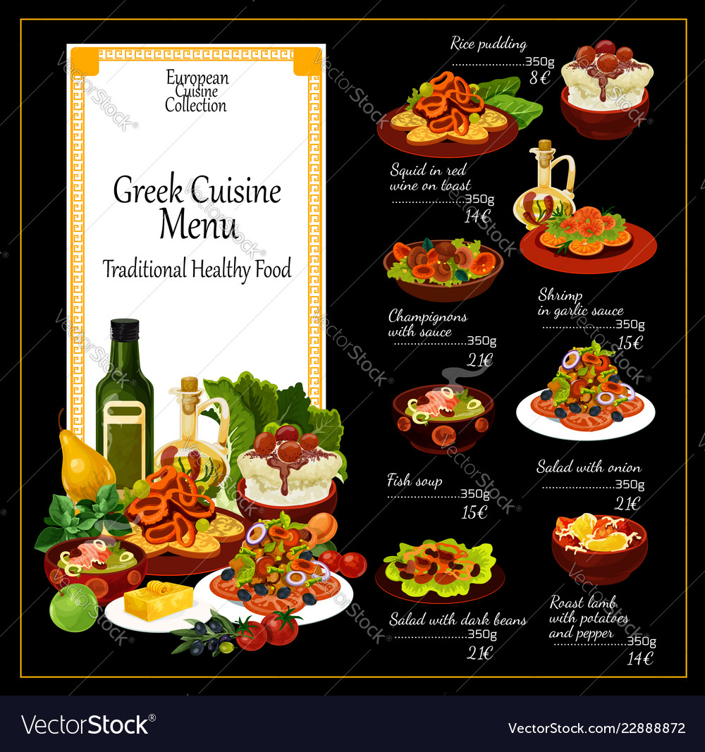 Greek cuisine traditional dishes menu
