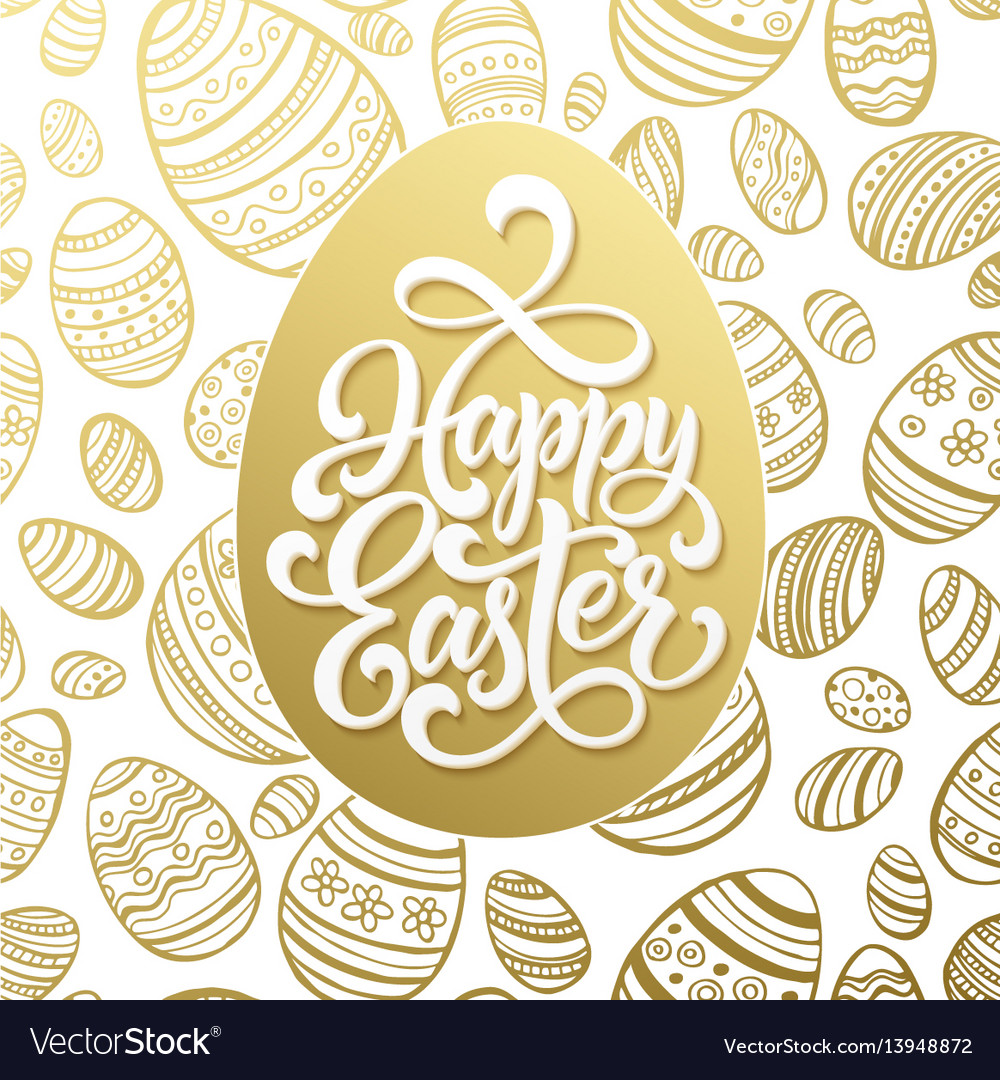 Happy easter greeting lettering on golden seamless