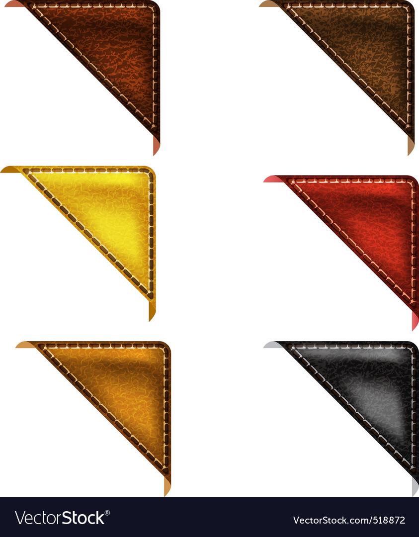 Leather corner ribbon vector image
