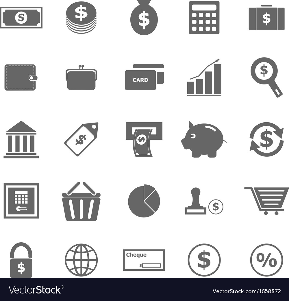 Money icons on white background vector image