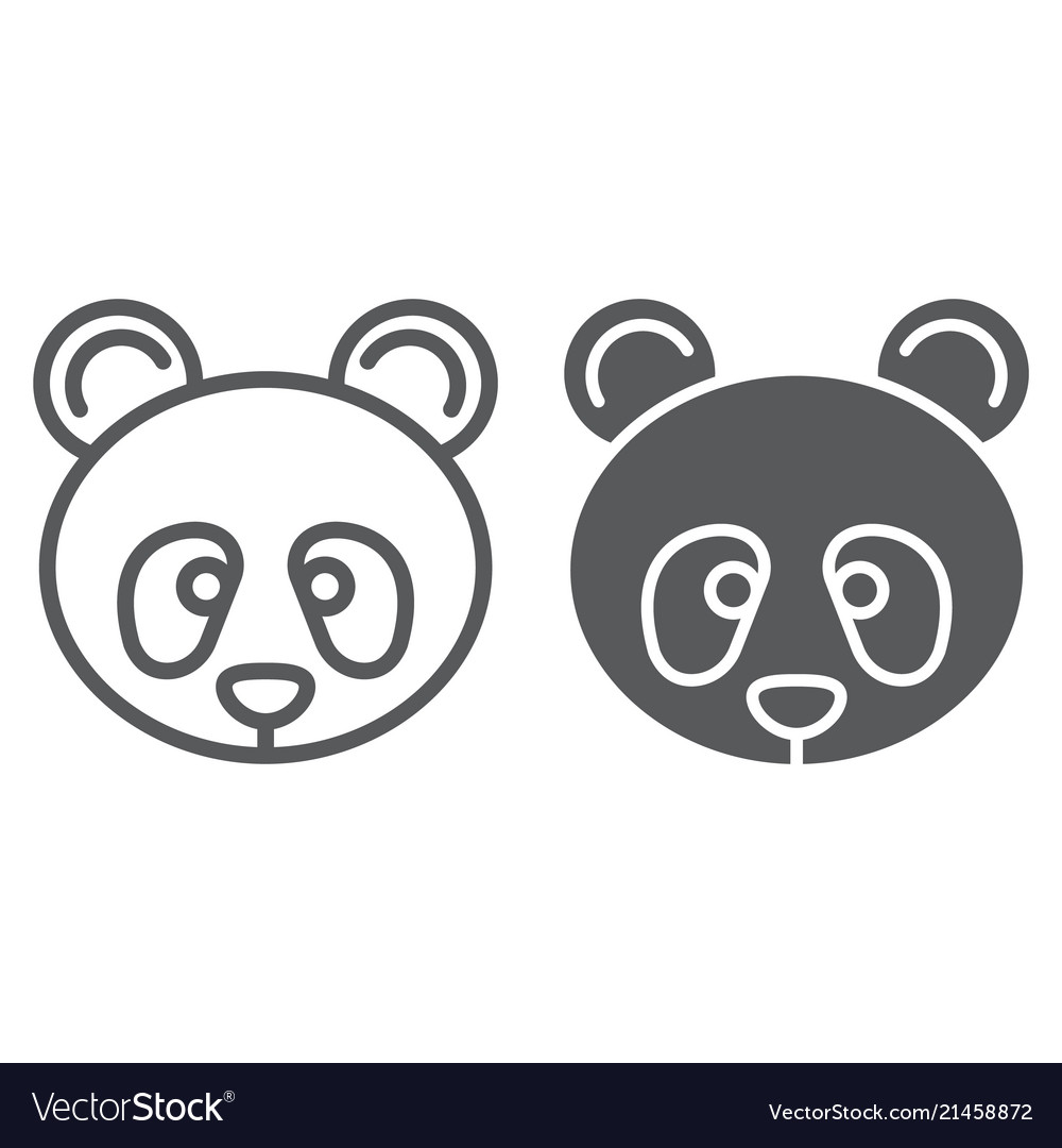 Panda line and glyph icon zoo and animal fauna