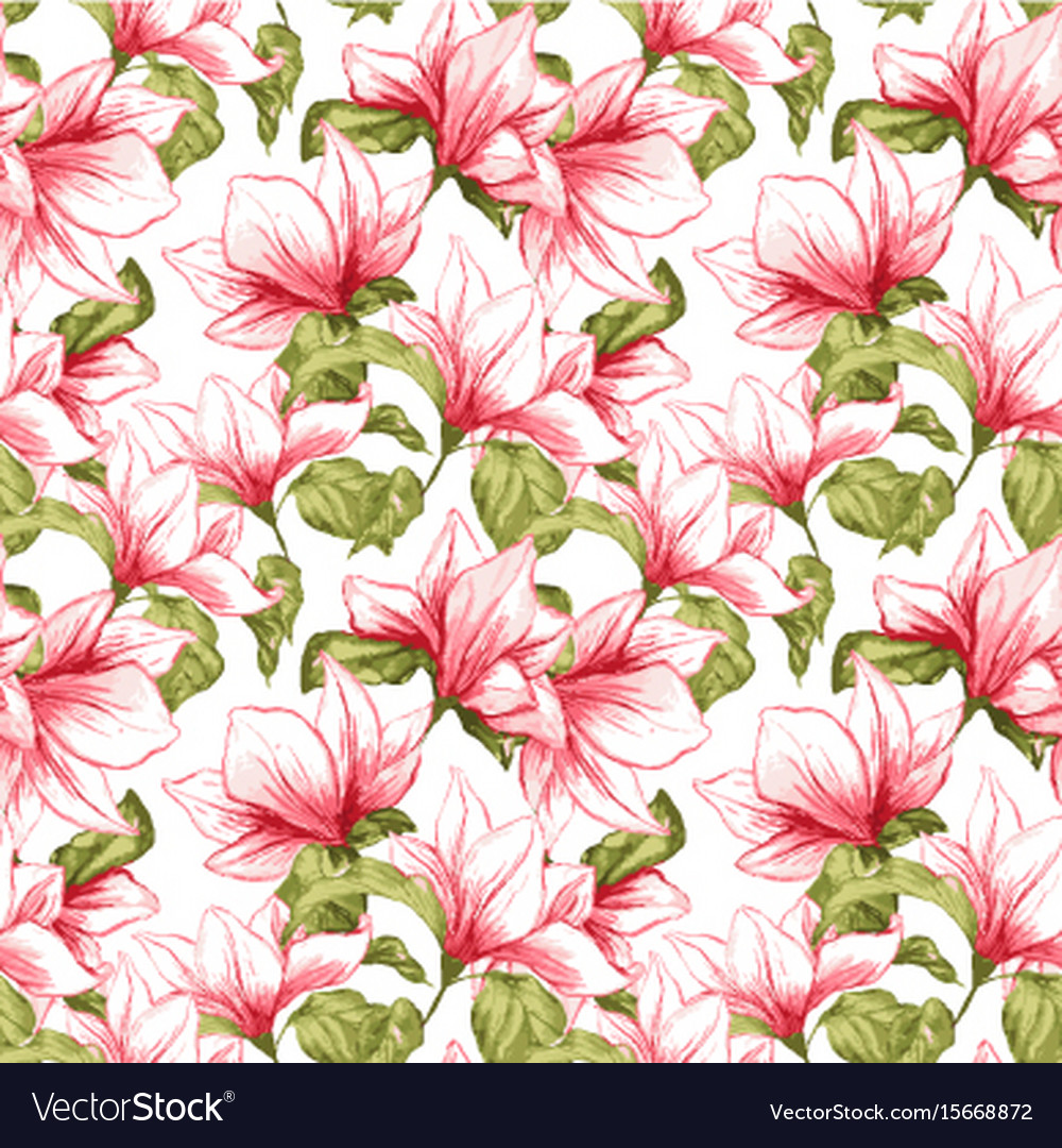 seamless pattern with magnolia flowers on the vector image