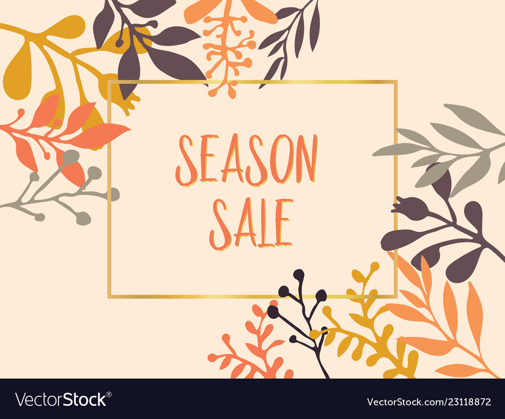 Season sale text with hand drawn leaves