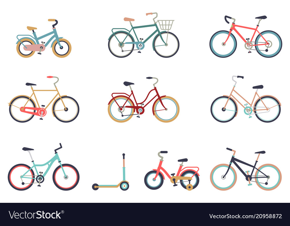Set of bicycles in a flat style isolated on white