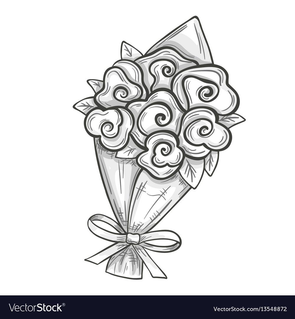 Sketch of bouquet vector image