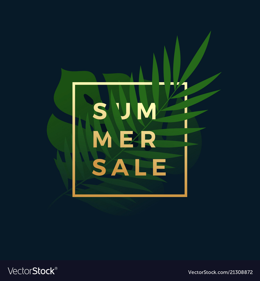 Summer sale tropical banner fern and monstera